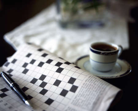 crossword puzzle with black coffee Banco de Imagens