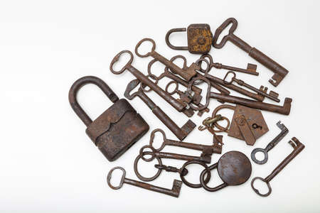 Vintage padlock and keys collection  on white  background with text space Stock Photo