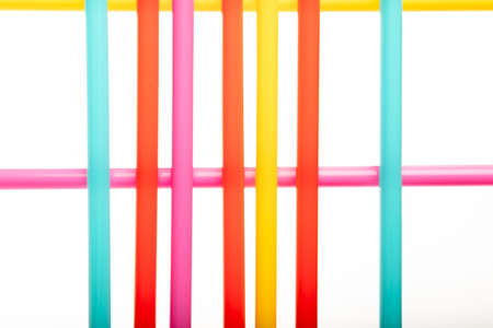 Bright straws isolated on white as abstract background with copy space Stock Photo