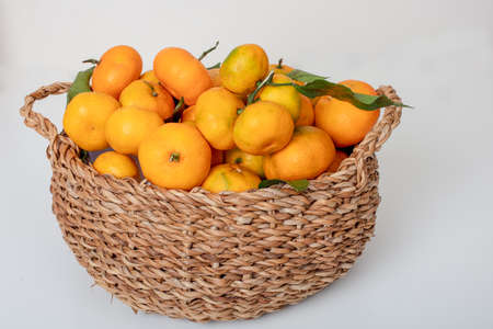 Organic Tangerines oranges, mandarins, clementines, citrus fruits with leaves in basket over white background, copy space Stock Photo
