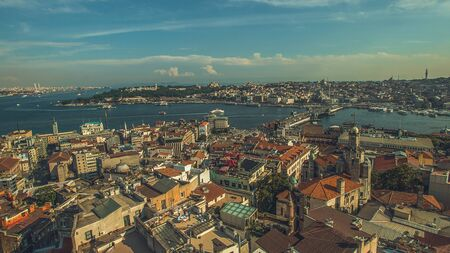 Istanbul Panoramic View from Galata Tower to Golden Horn, Turkey 스톡 콘텐츠
