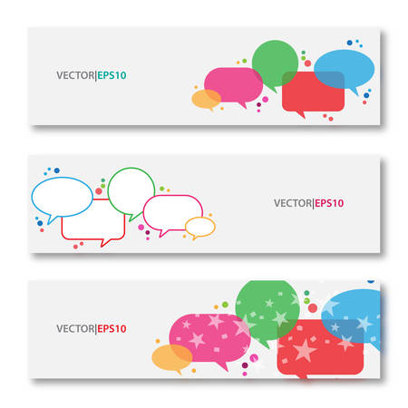 Colored speech bubble with vector banners