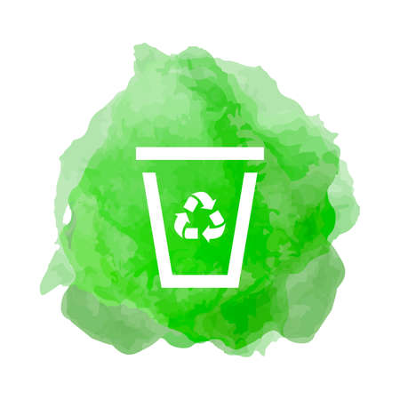 Recycling icon with trash can in smoke back drop Çizim