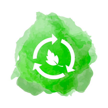 Recycling icon with leaf in smoke back drop