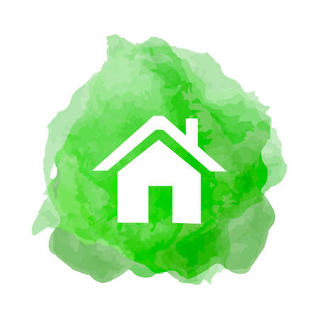Recycling icon with house in smoke back drop
