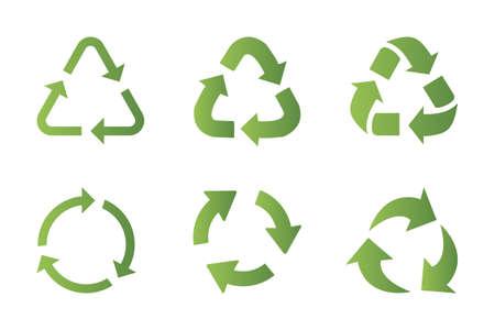Jeu d'icônes de symbole de recyclage