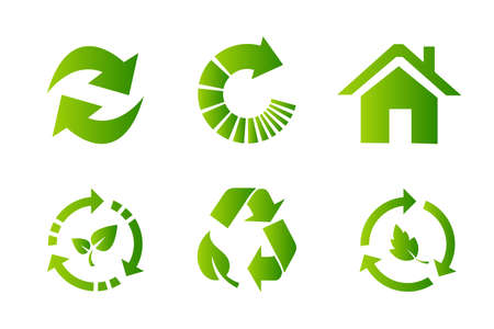 Recycling symbol icon set