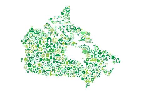 Canada map environmental protection green concept icons