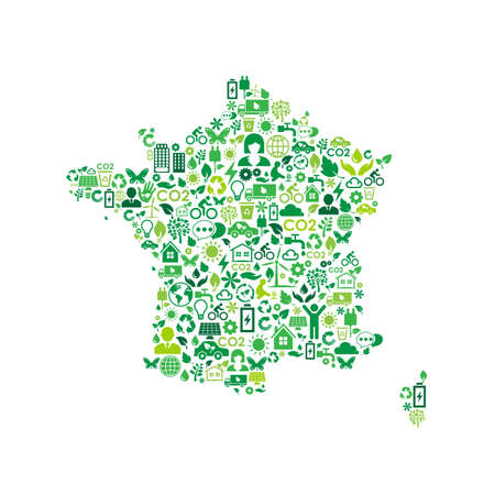 France map environmental protection green concept icons Çizim