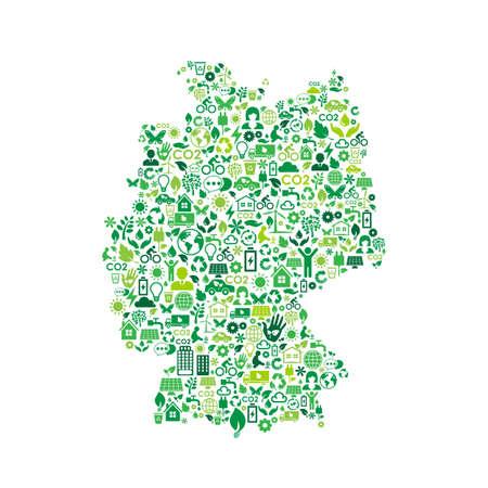 Allemagne carte protection de l'environnement icônes de concept vert