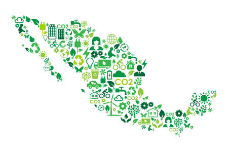 Mexico map environmental protection green concept icons Çizim
