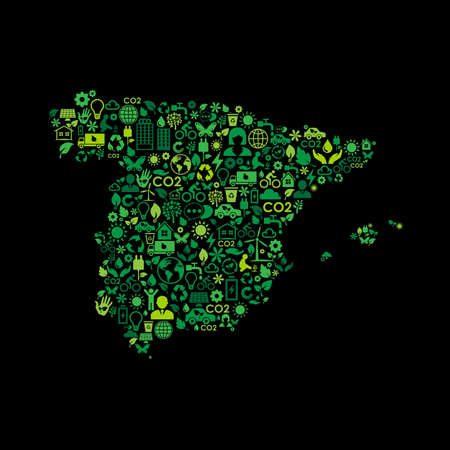 Spain map environmental protection green concept icons