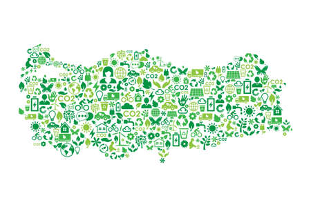 Turkey map environmental protection green concept icons