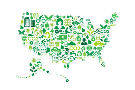 USA map environmental protection green concept icons Çizim