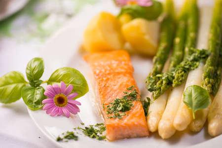 salmon fillet: salmon fillet with asparagus