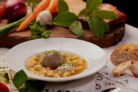 Soup with dumpling Bavarian specialty