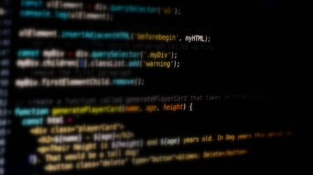Programming source code abstract background written by myself.Defocused background. Banco de Imagens