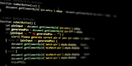 Computer programming source code.Abstract computer script source code background.Html code developing a screen.Web or application development, business technology computing, cyberspace.