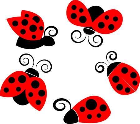 A set of ladybirds in different poses Illustration
