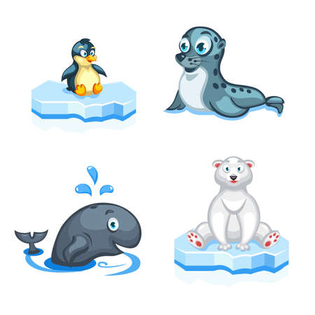 Set of vector cartoon arctic animals a navy seal, a polar bear, a whale and a penguin Иллюстрация