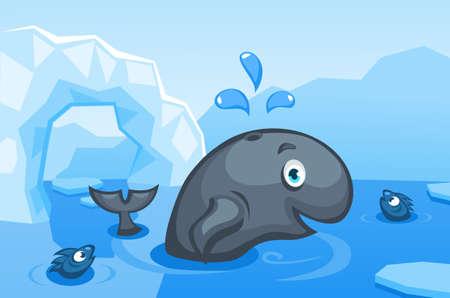Illustratie van een walvis op een arctische vectorachtergrond met ijsschotsen, ijsbergen, water en vissen