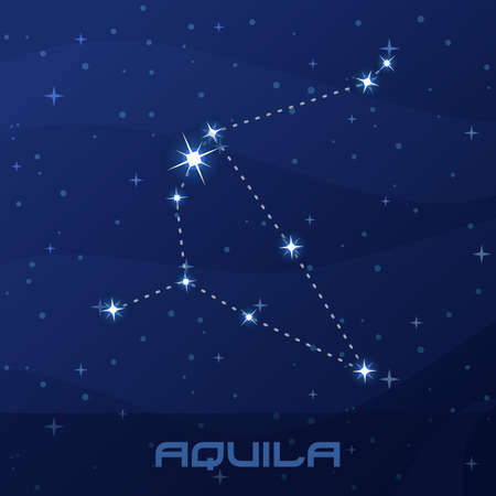 Constellation Aquila, Eagle, night star sky Иллюстрация