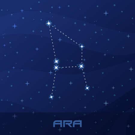 Constellation Ara, Altar, night star sky