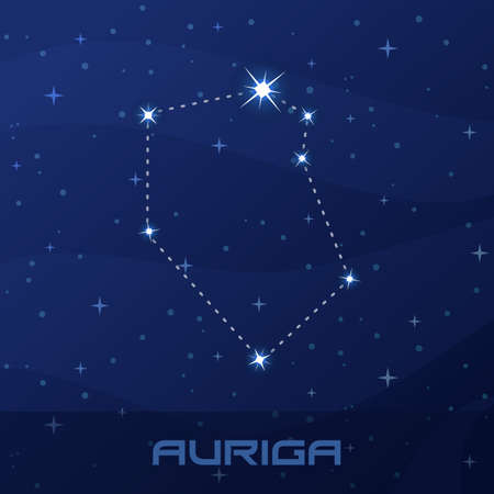 Constellation Auriga, Charioteer, night star sky