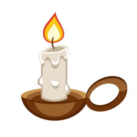 Cartoon brandende kaars met een houder