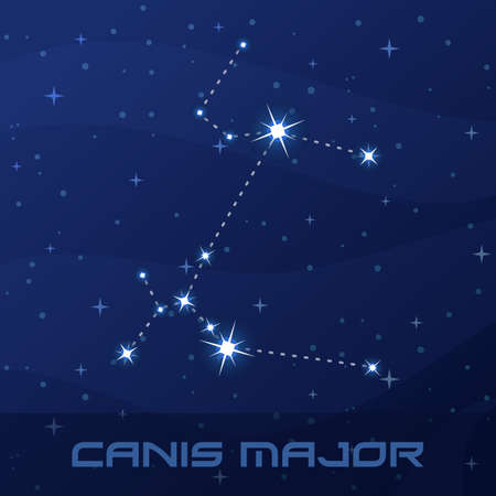 Constellation Canis Major, Great Dog, night star sky Иллюстрация