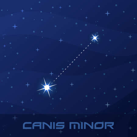 Constellation Canis Minor, Lesser Dog, night star sky Иллюстрация