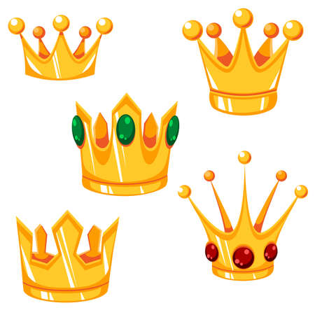 Set of cartoon vector crowns with green and red gems