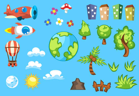 Set of cartoon objects houses in different colors, green trees, white clouds, planet earth, sun and moon, air balloon, vintage aircraft  rocket, mushroom  flowers, fence  mountain
