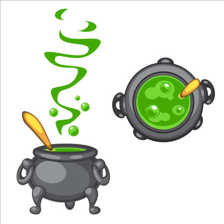 Cartoon cauldron with green boiling poison and golden spoon, side  top view