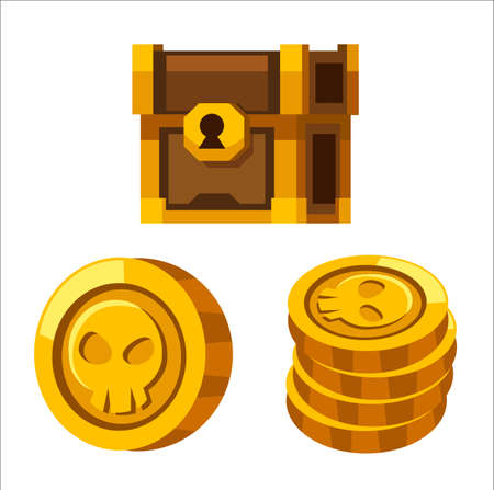 Cartoon golden coins, closed wooden chest