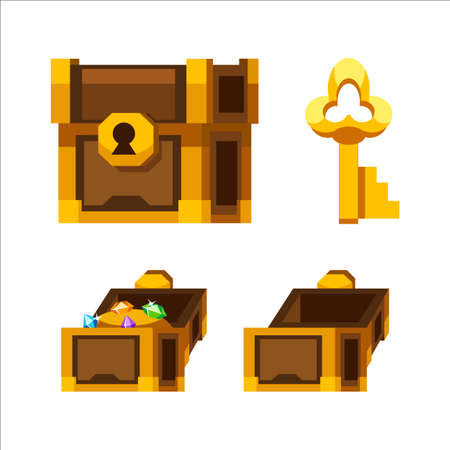 Cartoon wooden chest with gold and key Stock Illustratie