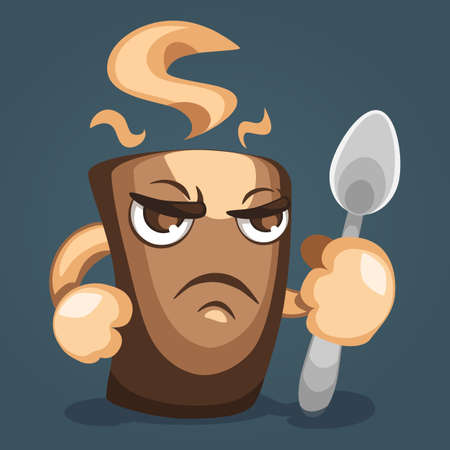Illustration of a fearsome coffee mug with  fist and  spoon in hand, side view. Cartoon character design