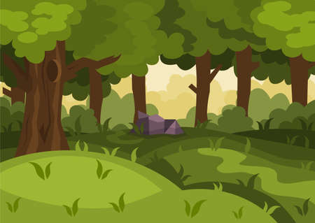 Summer day forest cartoon vector background