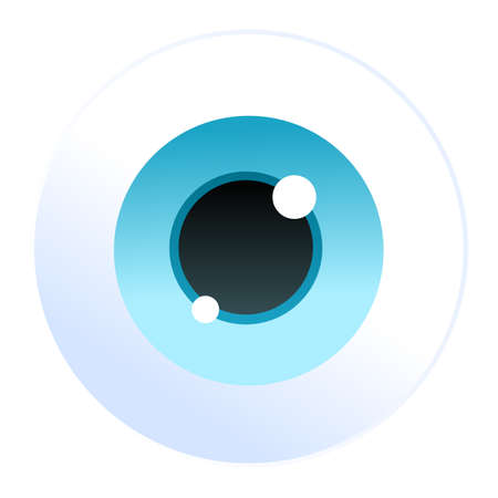 Isolated cartoon vector blue eyeball icon white background