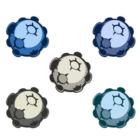 Illustration of cartoon asteroids in different colors for a game