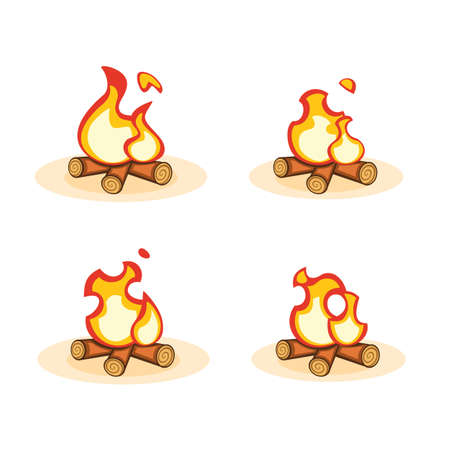 Cartoon vector bonfire with burning fire animation