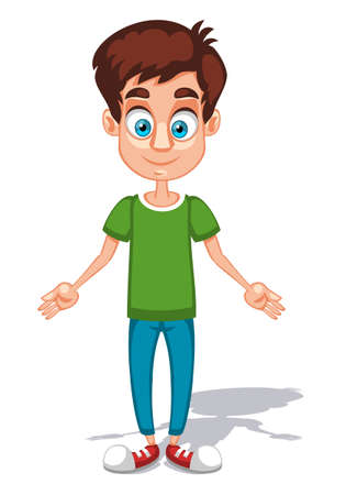 Cartoon young man character with open arms in the green shirt and blue pants