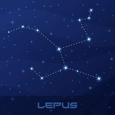 Constellation Lepus, Hare, night star sky