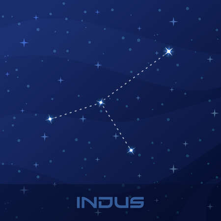 Constellation Indus, Indian, night star sky Иллюстрация