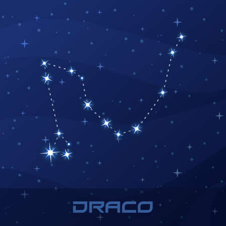 Constellation Draco, Dragon, night star sky Illustration