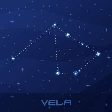 Constellation Vela, Sails, night star sky