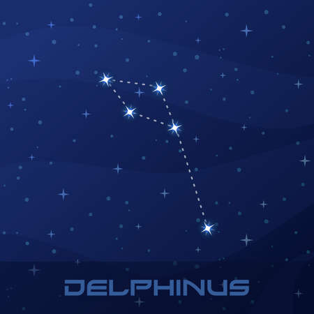 Constellation Delphinus, Dolphin, night star sky