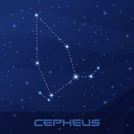 Constellation Cepheus, King, night star sky