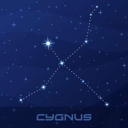 Constellation Cygnus, Swan, night star sky