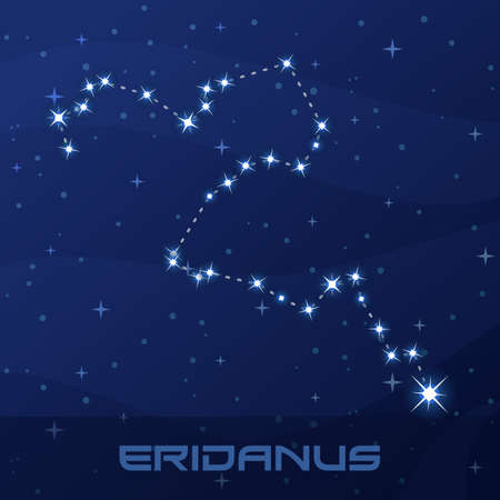 Constellation Eridanus, River, night star sky, flyer advertisement
